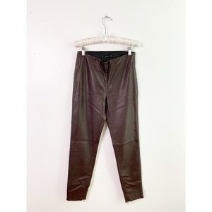 ZARA Brown Vegan Leather High Rise Ankle Zip Pants